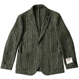 モノトーンストライプハリスツイードジャケット英国ブラックグレイ490222-202G-stageジーステージ