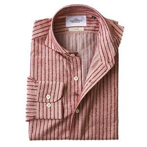 日本製播州織モールストライプカジュアルシャツ長袖メンズシャツレッド系490665-018GALLIPOLIcamiceriaガリポリカミチェリア