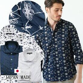 日本製 カジュアルシャツ 刺繍 花柄 総柄 メンズシャツ ベージュ レッド ホワイト 190602 G-stage ジーステージ