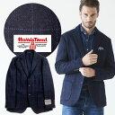 ハリスツイードジャケット 秋冬 ウインドウペンチェック 英国 ネイビー ブルー 280208-010 G-stage ジーステージ
