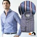 日本製 スペイン生地 メンズシャツ モールストライプ ブルー カッタウェイ 300670-013 GALLIPOLI camiceria ガリ…