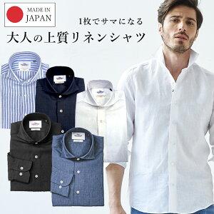 GALLIPOLIcamiceria(ガリポリカミチェリア)日本縫製リネンカッタウェイ先染め無地長袖シャツ550675