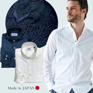 日本製フロントジオメトリック刺繍シャツカッタウェイ白紺600674GALLIPOLIcamiceriaガリポリカミチェリア
