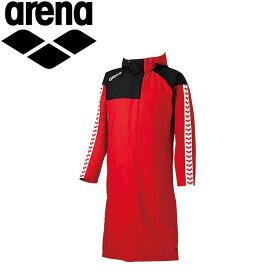 アリーナ 水泳 ダウンコート ロングコート ベンチコート メンズ ARN6330-RED