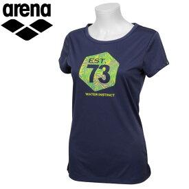 【あす楽対応】 アリーナ 半袖シャツ T-body HS レディース ASN-7410W Mネイビー arena
