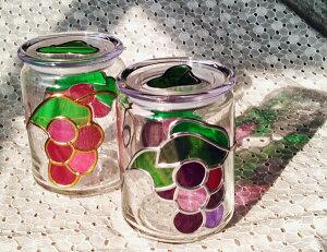 ぶどうのガラスポット★2コセット 葡萄のガラス容器 ブドウ ステンドグラスの彩り グラスアート
