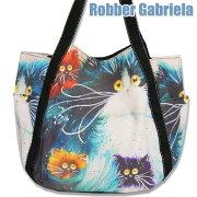 プリント布バック【Big】青猫【エコバッグecobag】サイドポケット付【バック・バッグ・BAG・鞄・カバン・かばん・猫柄】