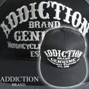 (アディクション)ADDICTION刺繍CAPADDICTION(ブラックメッシュ)黒帽子CAPキャップ