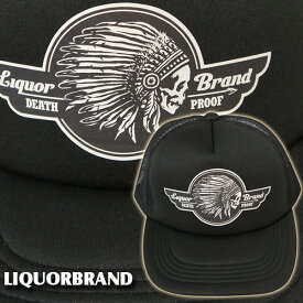 【残り1】【LIQUOR BRAND】CAP・DEATH PROOF {死の証明・インディアン} /スカル ドクロ ネイティブ バイク ホッドロッド 帽子 キャップ