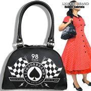 【LIQUORBRAND】ハンドバッグ・レースフラッグチェッカーフラッグオールドスクールロックロカビリー50's60'sオールディーズバックバッグ鞄カバンかばんレディースプレゼントにもおすすめ