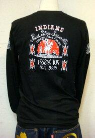 アメリカン 刺繍ロンT インディアン (長袖Tシャツ) 【綿 黒 通販 メンズ 小さいサイズはレディースにも 大きいサイズ、有ります ネイティブアメリカン ハーレー バイカー ロック T ロカビリー プレゼントに 誕生日 定番 丸首】