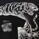 和柄・刺繍Tシャツ 白虎 (半袖) 【タイガー 和柄・虎・タイガー・スカジャン柄 ハーレー・バイカー・ロックンロール・パンク・ロカビリー系】