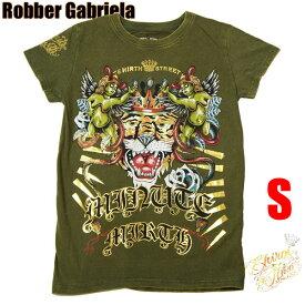 シロイネコ・MINUTE MIRTH/Tシャツ【キング・タイガー】カーキ【S】【ロック・ロックンロール・パンク・タトゥー・刺青・ロカビリー系】