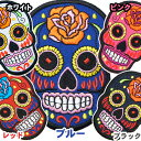 [全4色]刺繍アイロンワッペン・アップリケ・パッチ【メキシカンスカル】薔薇スカル ドクロ メキシコ ローズ エスニック