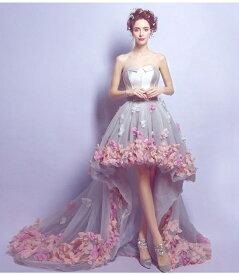 花柄 セクシー 美脚 ウエディングドレス カラードレス 可愛い ロングドレス パーティードレス 礼服 姫系ドレス お花嫁ドレス 刺繍 フリル 豪華 イベント 結婚式 リボンドレス