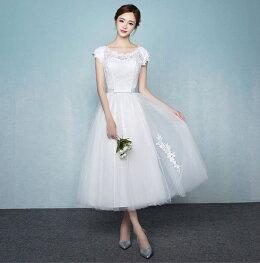 パーティードレスミモレ丈二次会結婚式ドレス半袖