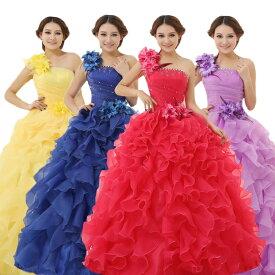 カラードレス ウェディングドレス ロングドレス 花嫁ドレス プリンセスライン ウエディングドレス 大きいサイズ 結婚式 二次会 パーティードレス ピンク イエロー 黄色 ホワイト 白 レッド 赤 パープル 紫 ブルー 青 スカイブルー 水色 ディープピンク スイカ