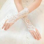 ウエディンググローブお花レース手袋レディース指なし白/ブライダルグローブ/結婚式グローブ/フォーマル/グローブドレス/サテン/ウエディング小物/ウエディングドレス/結婚式/二次会/パーティー
