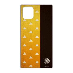 鬼滅の刃 グッズ iPhone 12 mini スクエアガラス ケース 我妻 善逸 あがつま ぜんいつ 黄色 オレンジ 黒 ブラック イエロー ネコポス便配送