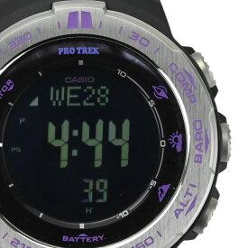 【CASIO】カシオ PRW-3100 プロトレック トリプルセンサー ブラック/パープル タフソーラー電波 ステンレススチール メンズ腕時計【送料無料】【中古】