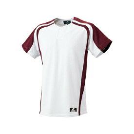 ◆◆ <エスエスケイ> SSK 1ボタンプレゲームシャツ BW0906 (1022:ホワイト×エンジ) エスエスケイ(bw0906-1022-ssk1)