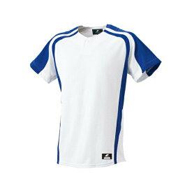 ◆◆ <エスエスケイ> SSK 1ボタンプレゲームシャツ BW0906 (1063:ホワイト×Dブルー) エスエスケイ(bw0906-1063-ssk1)