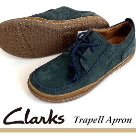 即納可☆ 【Clarks】クラークス 超特価 Trapell Apron NAVY NUBUC トラペルエプロン メンズ レースアップシューズ 天然皮革 26128152