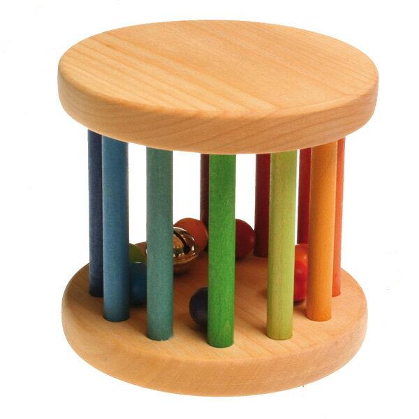 がらがら レインボーカラーロール グリムス社 木のおもちゃ 木製玩具 おもちゃ 知育玩具 誕生日 出産祝 シュタイナー 0歳 1際 2歳 男の子 女の子