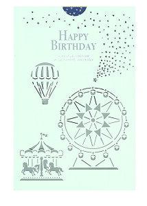誕生日カード レーザーカット 箔 カード (遊園地) B38295 学研ステイフル