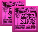[ メール便 対応可 ] エレキギター弦 ERNIE BALL 2223 ピンクパケ 2個セット 09-42 スーパースリンキー 1弦 009 - 6弦 042...