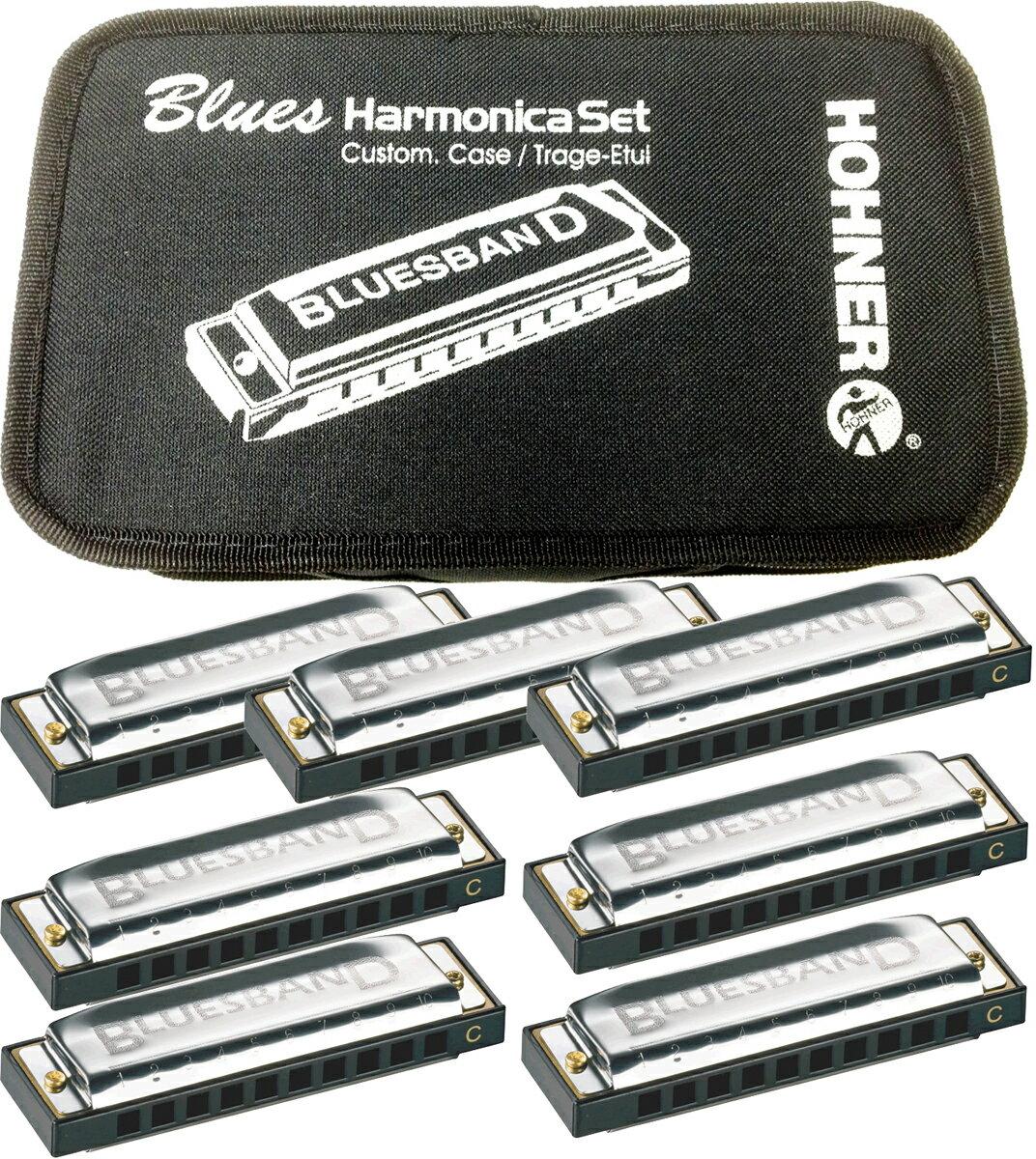 ブルースハーモニカ 7本 セット ホーナー ブルースハープ型 10穴 ハーモニカ ブルースバンド C調 他 G, A, Bb, D, E, F HARP ケース 付き 初心者 弾き語り おすすめ ダイアトニックハーモニカ テンホールズ HOHNER BLUES BAND SET Harmonica
