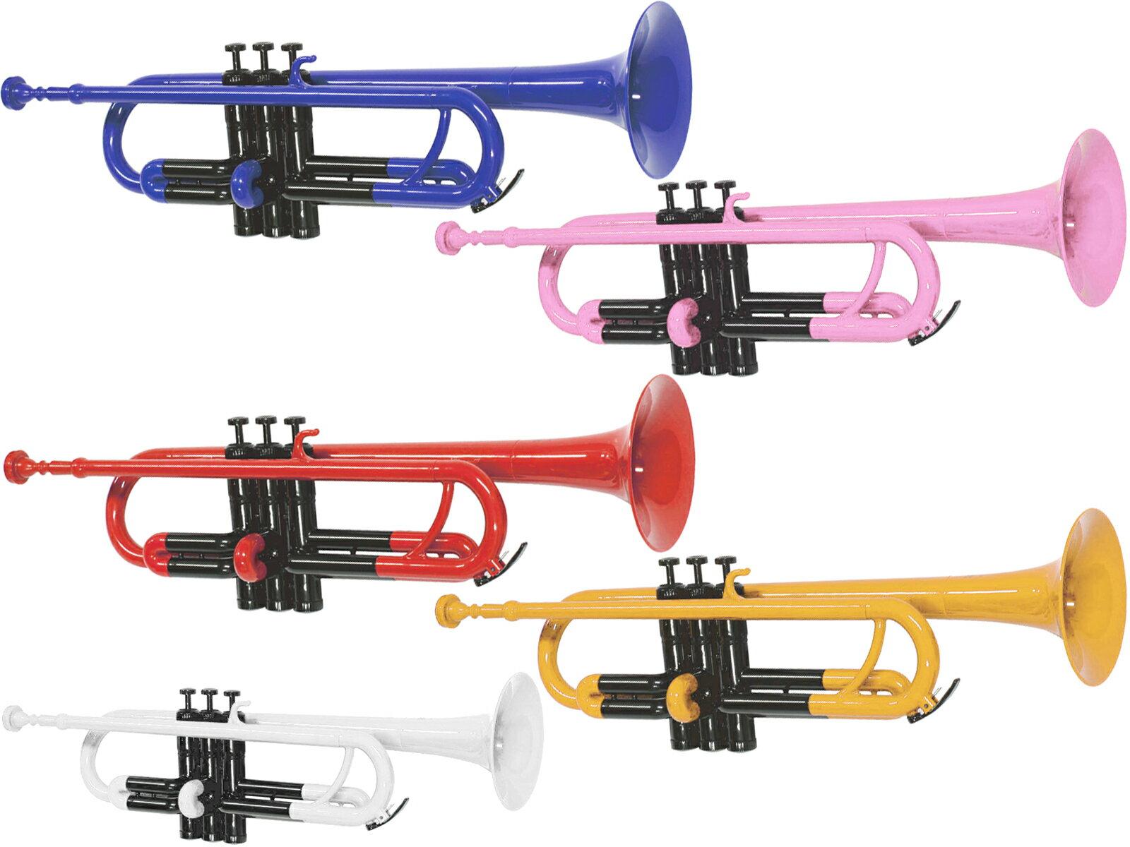 送料無料 プラスチック トランペット 新品 アウトレット ZPT-01 管楽器 B♭ ゼフ 本体 マウスピース ソフトケース セット レッド ブルー イエロー ピンク