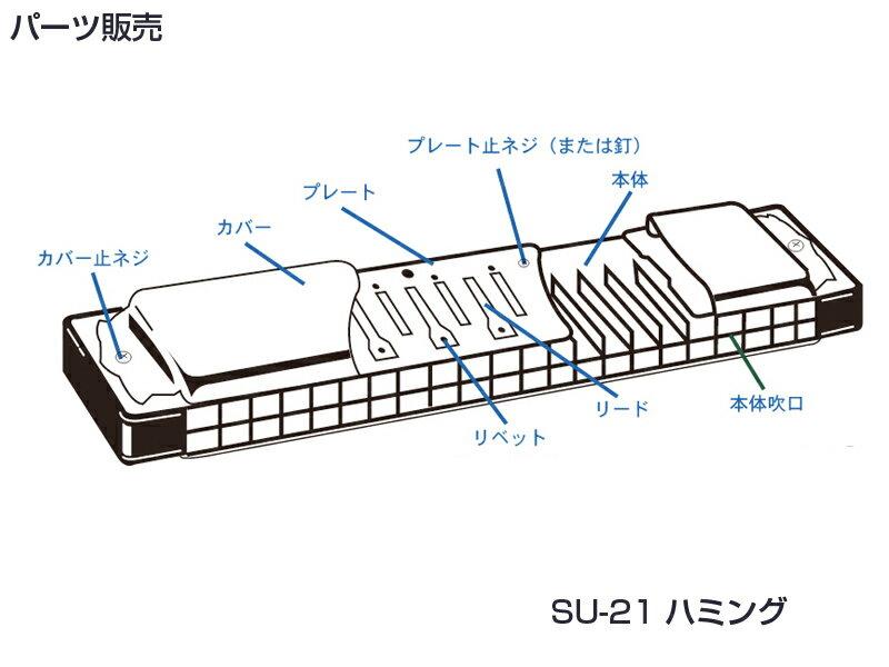 [ メール便 対応可 ] SUZUKI ( スズキ ) SU-21 Humming カバープレート 止めネジ 6本 + ネジの受け ナット 6個 複音ハーモニカ 3本分 パーツ 修理 ハーモニカ 部品 ネジ 【SU21Hummingネジ】