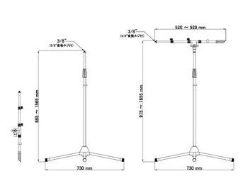 JEUME(ジューム)JMS-101BK(1本)◆2段ブームマイクスタンド三脚タイプブラック