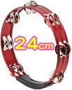 アルミタンバリン 24cm レッド 丸型 アルミ製 10インチ タンバリン パーカッション 赤色 円形 tambourine percussion …