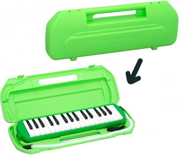 Kikutani ( キクタニ ) グリーン 32鍵 鍵盤ハーモニカ 1台 立奏用唄口 卓奏用パイプ セット 楽器 ケース付き 緑色 鍵盤楽器 MELODY MATE PIANO MM-32 GREEN 一部送料追加