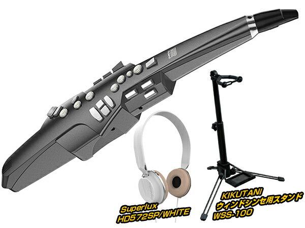 Roland ( ローランド ) AEROPHONE GRAPHITE BLACK スタンド&ヘッドフォン ホワイト セット ◆【AE10GHSSETWH】 ◆【送料無料】【ウィンドシンセサイザー】