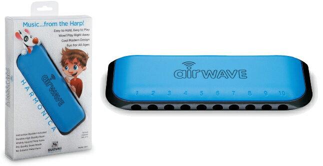 SUZUKI ( スズキ ) エアーウェーブ AW-1 ブルー 幼児用 10穴 ハーモニカ 20音 C調 プラスチック製 カバー ボディ 教育用ハープ airWAVE AW1 blue harmonica 青色