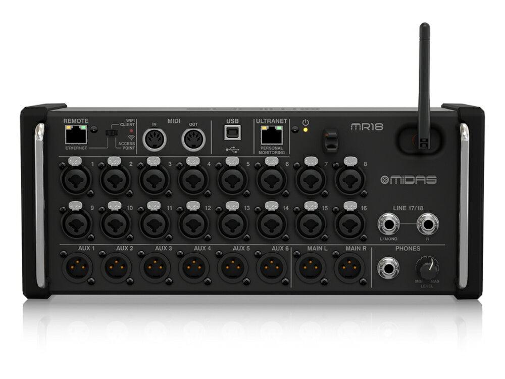 MIDAS ( マイダス ) MR18 ◆ 18ch入力、デジタルコンソール、iPad/Android タブレットでコントロールするミキサー [ 送料無料 ]
