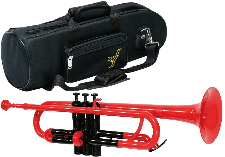 調整品 ZEFF ( ゼフ ) ZPT-01 RED トランペット レッド 新品 プラスチック製 B♭ スタンダード 本体 管楽器 ZPT01 RED/BLK trumpet RD 赤色 楽器 マウスピース ケース 送料無料