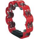 レッド 花型 タンバリン 23cm プラスチック製 ダブルジングル パーカッション プラスチックタンバリン 赤色 red flowe…