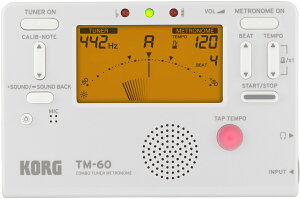 KORG ( コルグ ) TM-60 WH チューナー メトロノーム ホワイト 同時使用可 電子 クロマチックチューナー 吹奏楽 管楽器 音合わせ combo tuner metronome tm60