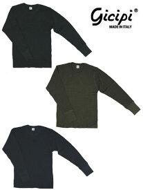 gicipi ジチピ 1904A GIRO COLLO M/L サーマル素材クルーネック長袖シャツ イタリア製ワッフル素材ブラック オリーブ ネイビー