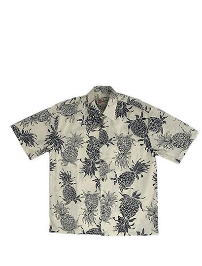【SALE】HILO HATTIE ヒロハッティ アロハシャツ 半袖シャツ ハワイアン 半袖シャツ Pineapple クリーム×ネイビーHAWAII製