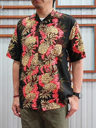 【SALE】HILO HATTIE ヒロハッティ アロハシャツ 半袖シャツ ハワイアン Pine Panel Blue ブラック ブルー HAWAII製