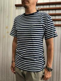 FRUIT OF THE LOOM フルーツオブザルーム 0122 希少インディゴ染め 半袖ボーダーポケットTシャツ インディゴ