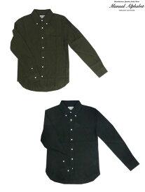 【SALE】MANUAL ALPHABET (マニュアルアルファベット)BSC-SPT-023 LINEN BD SHIRTS麻素材リネンボタンダウンシャツ Grey Black