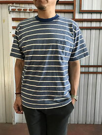 【SALE】SUNNY SPORTS サニースポーツ Penny's SUNNY SPORTSサニースポーツ 80年代風ボーダーポケットTシャツ 日本製 Blue