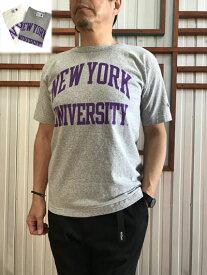 Champion チャンピオン 【SALE】 正規品 T1011 限定カレッジプリントTシャツ ニューヨーク大学 オックスフォードグレー ホワイト アメリカ製