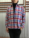 JAMES&COJS201-183フランネルオープンカラーシャツレッドチェック柄